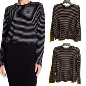 Vince Black & White Stripe Long Sleeved Cotton Tee